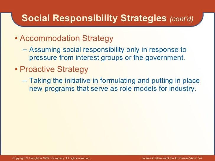 Social Responsibility Strategies  (cont'd) <ul><li>Accommodation Strategy </li></ul><ul><ul><li>Assuming social responsibi...