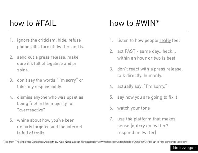 how to #FAIL                                                                        how to #WIN*     1. ignore the critici...