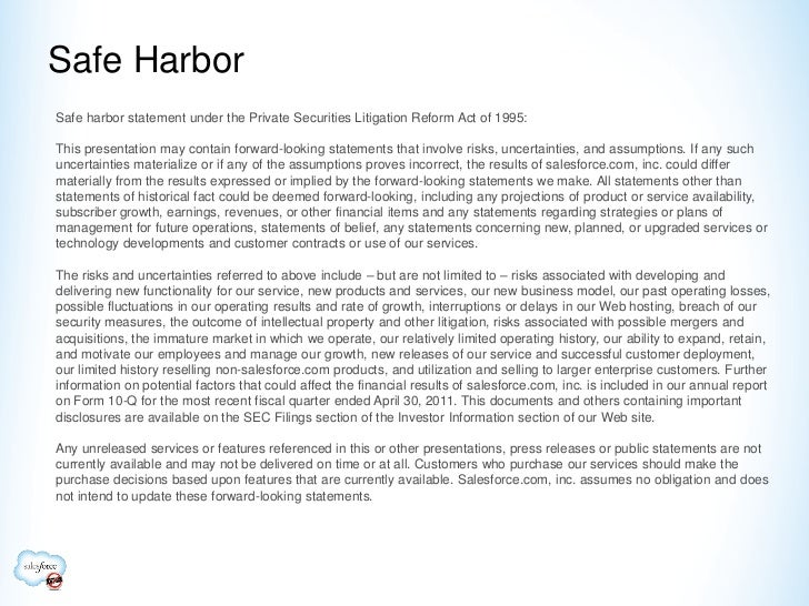 Safe HarborSafe harbor statement under the Private Securities Litigation Reform Act of 1995:This presentation may contain ...