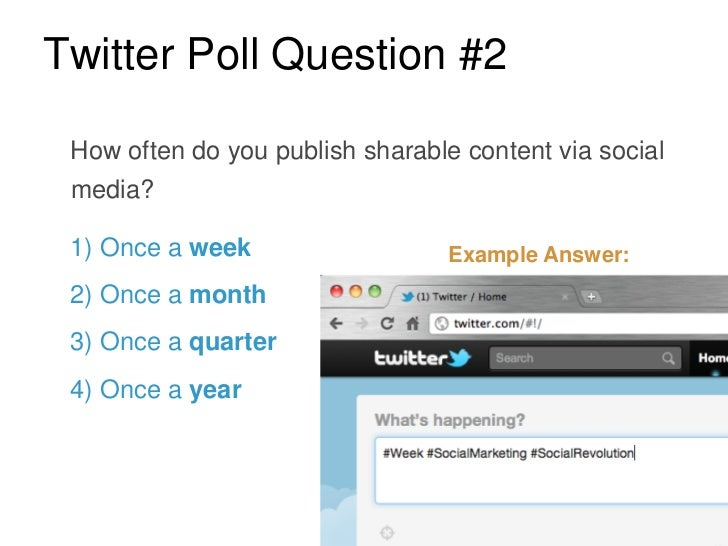 Twitter Poll Question #2 How often do you publish sharable content via social media? 1) Once a week                   Exam...