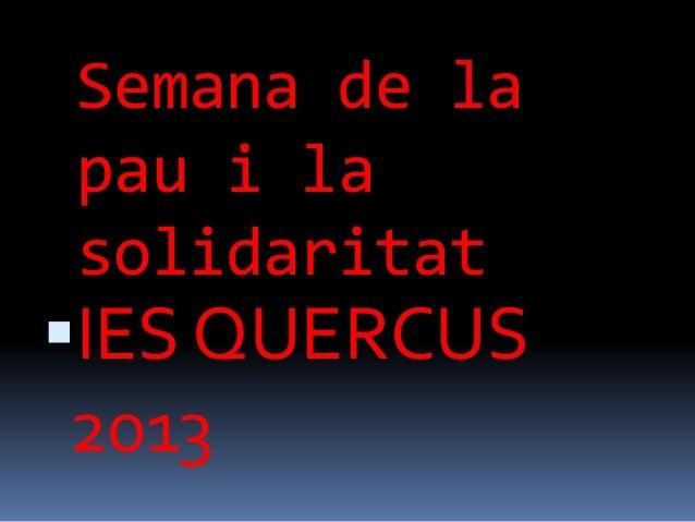 Semana de lapau i lasolidaritatIES QUERCUS2013