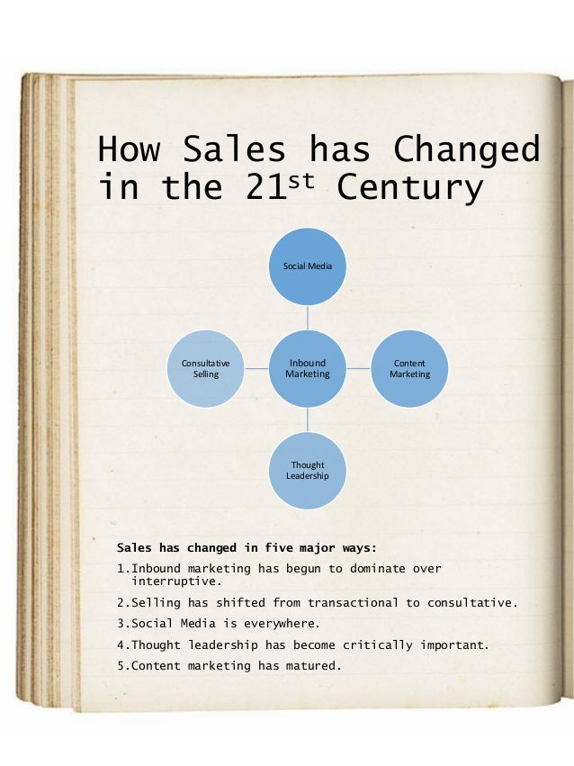How Sales has Changed in the 21st Century Sales has changed in five major ways: 1.Inbound marketing has begun to dominate ...