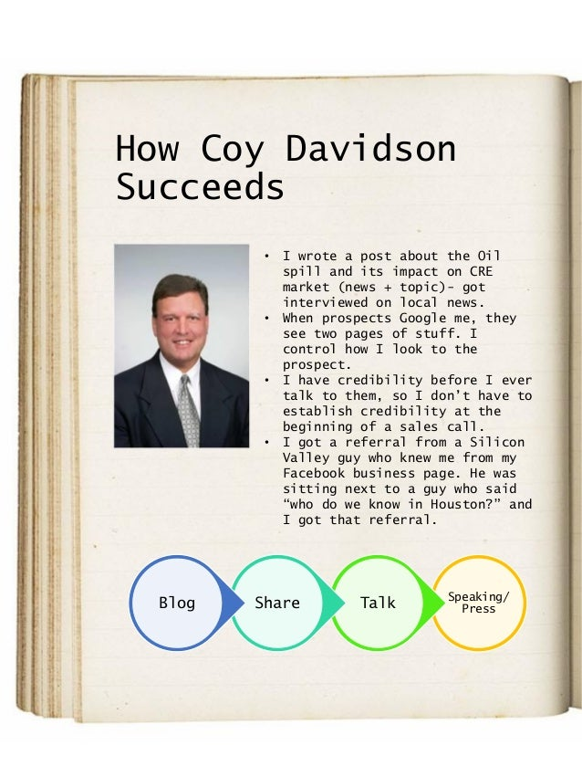 How Coy Davidson Succeeds Speaking/ PressTalkShareBlog • I wrote a post about the Oil spill and its impact on CRE market (...
