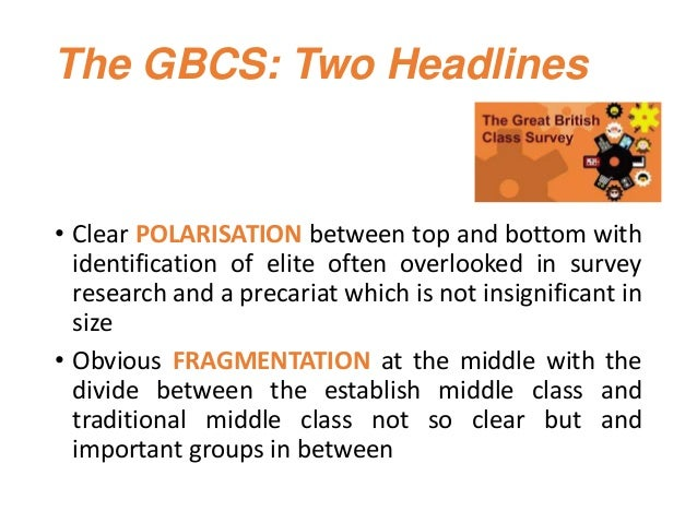 The GBCS: Two Headlines • Clear POLARISATION between top and bottom with identification of elite often overlooked in surve...