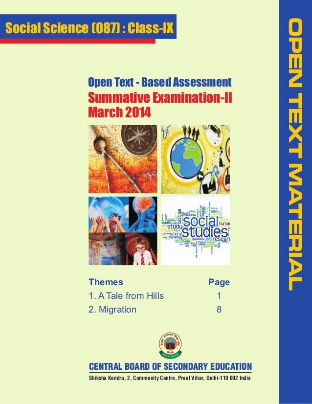Open Text - Based Assessment  Summative Examination-II March 2014  Themes  Page  1. A Tale from Hills  1  2. Migration  8 ...