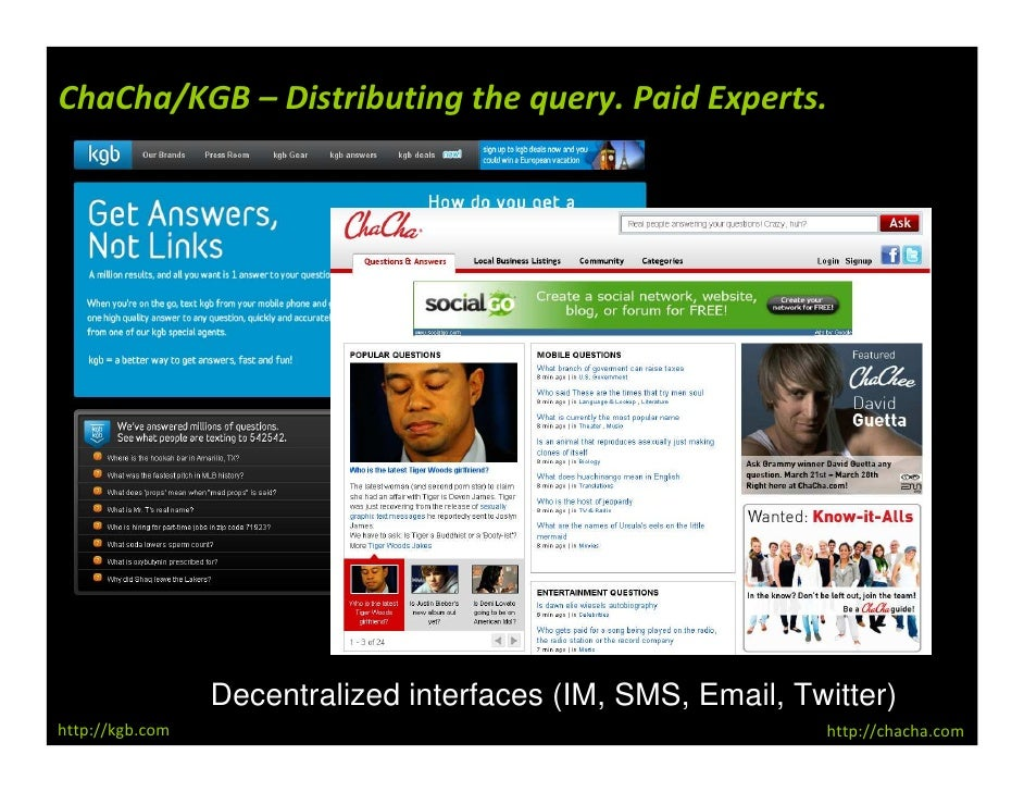 ChaCha/KGB – Distributing the query. Paid Experts.                      Decentralized interfaces (IM, SMS, Email, Twitter)...