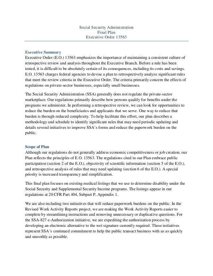 Social Security Administration                                            Final Plan                                     E...