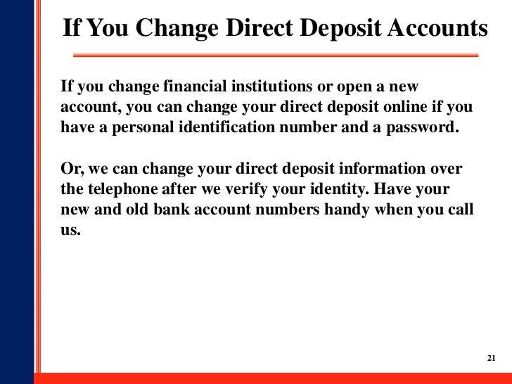 Social Security Direct Deposit Change