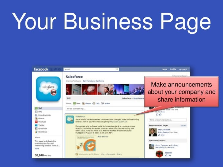 Your Business Page<br />Make announcements about your company and share information<br />