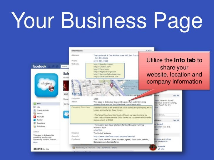 Your Business Page<br />Utilize the Info tab to share your website, location and company information<br />