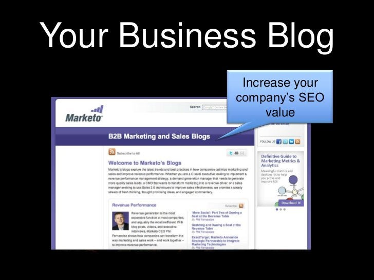 Your Business Blog<br />Increase your company's SEO value<br />