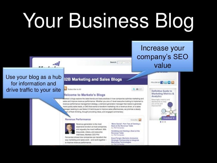Your Business Blog<br />Increase your company's SEO value<br />Use your blog as a hub for information and drive traffic to...