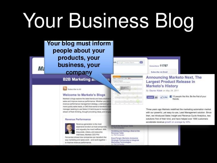 Your Business Blog<br />Your blog must inform people about your products, your business, your company<br />