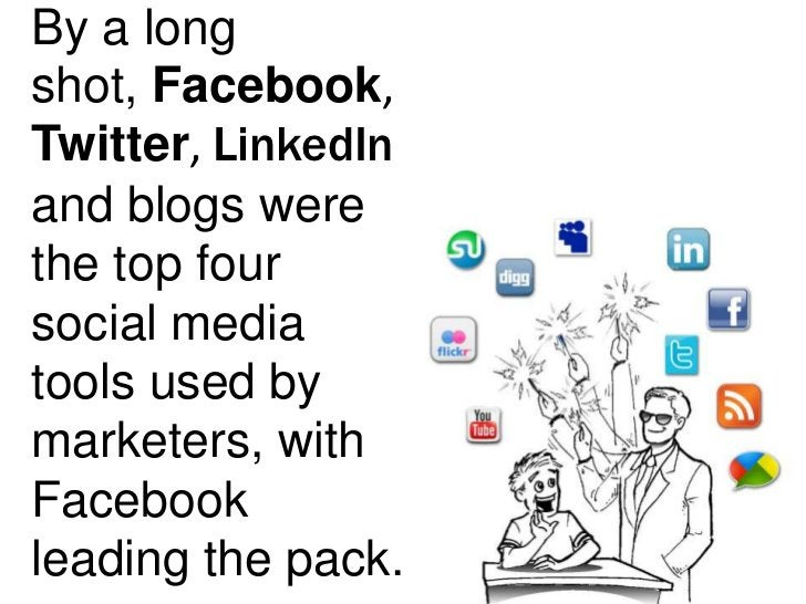 By a long shot, Facebook, Twitter, LinkedInand blogs were the top four social media tools used by marketers, with Facebook...