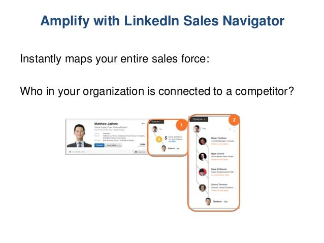Amplify with LinkedIn Sales Navigator Instantly maps your entire sales force: Who in your organization is connected to a c...