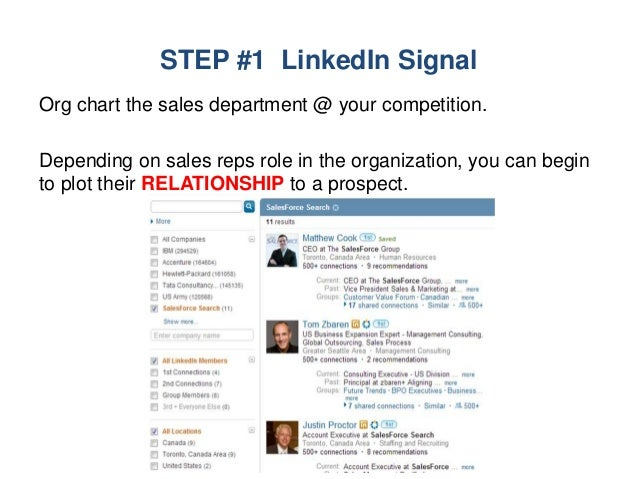 STEP #1 LinkedIn Signal Org chart the sales department @ your competition. Depending on sales reps role in the organizatio...
