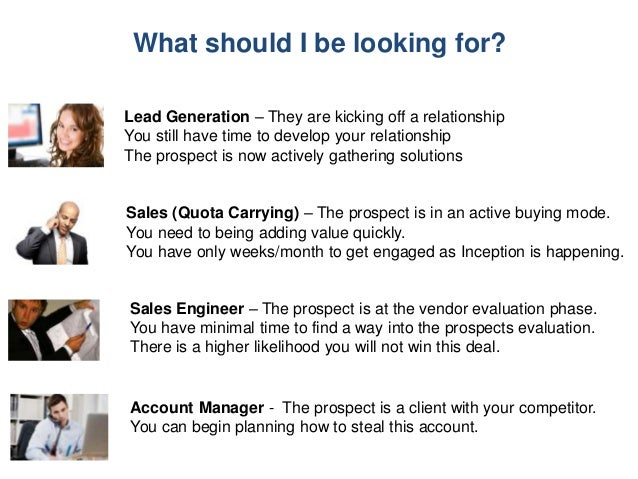 What should I be looking for? Lead Generation – They are kicking off a relationship You still have time to develop your re...