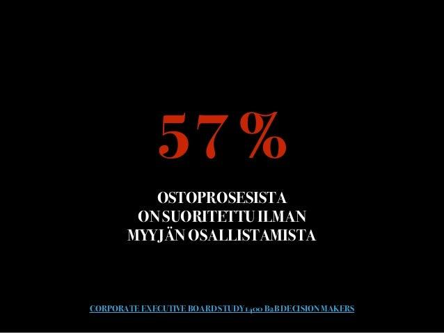 57 % OSTOPROSESISTA  ON SUORITETTU ILMAN  MYYJÄN OSALLISTAMISTA CORPORATE EXECUTIVE BOARD STUDY 1400 B2B DECISION MAKERS