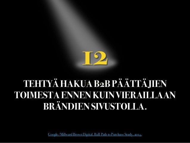 12  TEHTYÄ HAKUA B2B PÄÄTTÄJIEN TOIMESTA ENNEN KUIN VIERAILLAAN BRÄNDIEN SIVUSTOLLA. Google/Millward Brown Digital, B2B ...