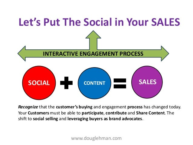 Let's Put The Social in Your SALES INTERACTIVE ENGAGEMENT PROCESS  SOCIAL  CONTENT  SALES  Recognize that the customer's b...