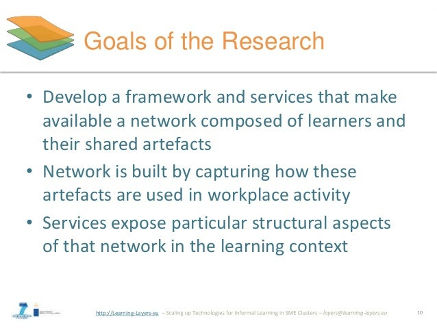 http://Learning-Layers-eu Goals of the Research • Develop a framework and services that make available a network composed ...