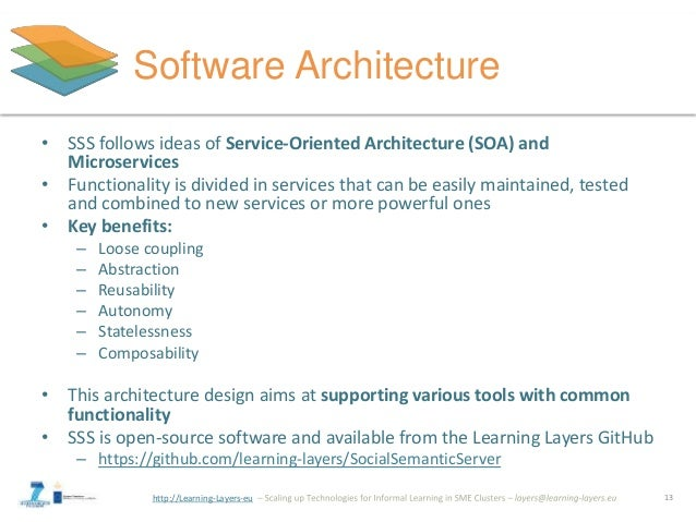 http://Learning-Layers-eu Software Architecture • SSS follows ideas of Service-Oriented Architecture (SOA) and Microservic...