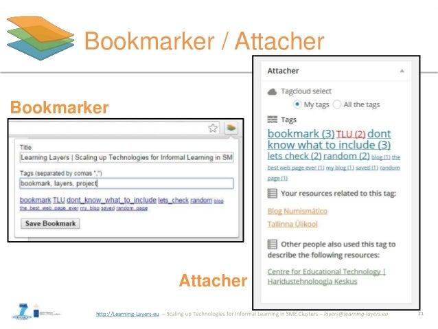 http://Learning-Layers-eu Bookmarker / Attacher 21 Bookmarker Attacher