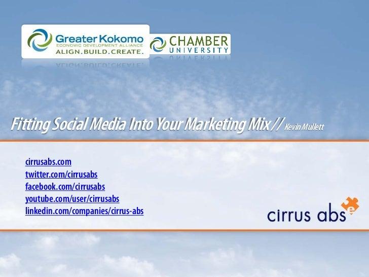 Fitting Social Media Into Your Marketing Mix // Kevin Mullett  cirrusabs.com  twitter.com/cirrusabs  facebook.com/cirrusab...
