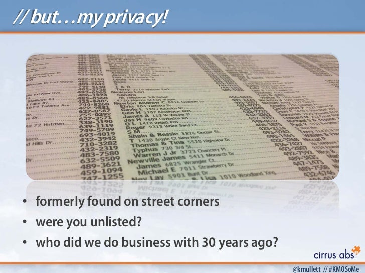 // but…my privacy! • formerly found on street corners • were you unlisted? • who did we do business with 30 years ago?    ...