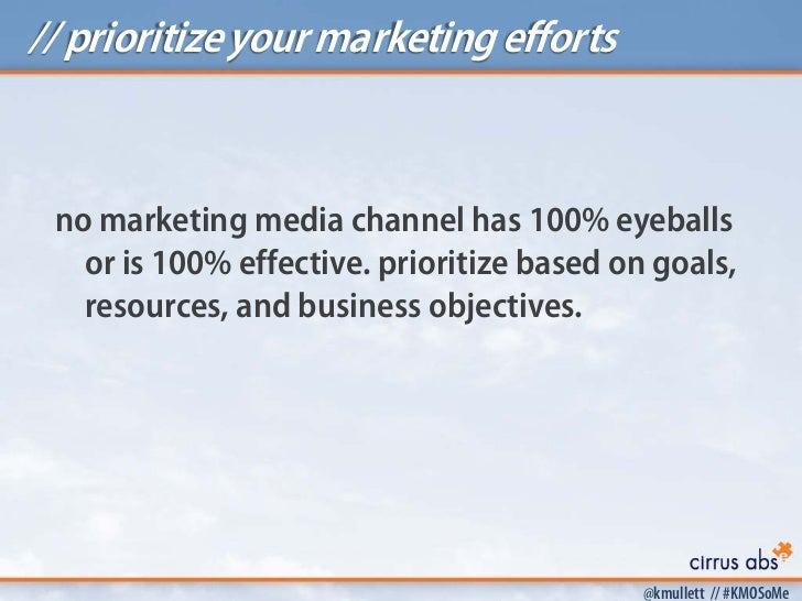 // prioritize your marketing efforts no marketing media channel has 100% eyeballs   or is 100% effective. prioritize based...