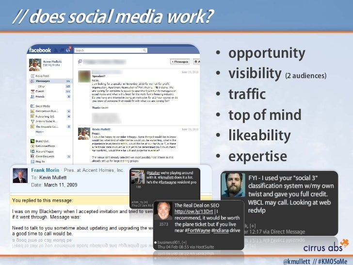 // does social media work?                             •   opportunity                             •   visibility (2 audie...
