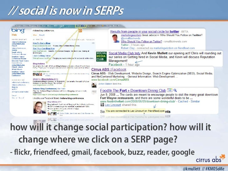 // social is now in SERPshow will it change social participation? how will it  change where we click on a SERP page?- flic...