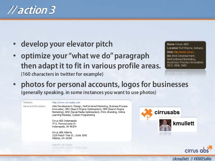 """// action 3 • develop your elevator pitch • optimize your """"what we do"""" paragraph   then adapt it to fit in various profile..."""