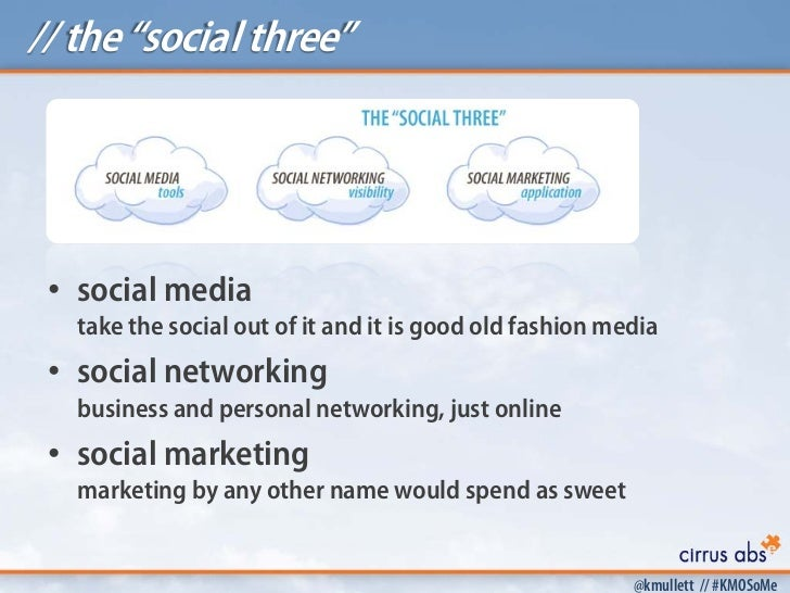 """// the """"social three"""" • social media   take the social out of it and it is good old fashion media • social networking   bu..."""