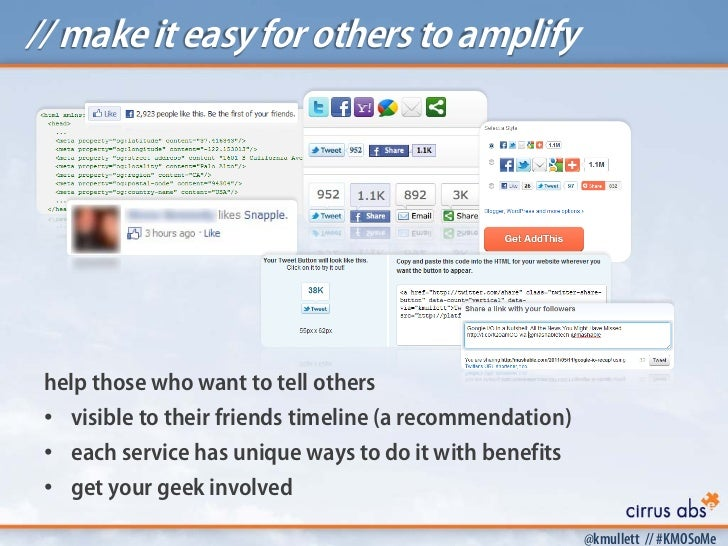 // make it easy for others to amplify help those who want to tell others • visible to their friends timeline (a recommenda...
