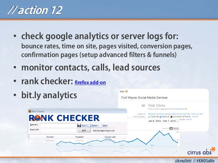 // action 12 • check google analytics or server logs for:   bounce rates, time on site, pages visited, conversion pages,  ...