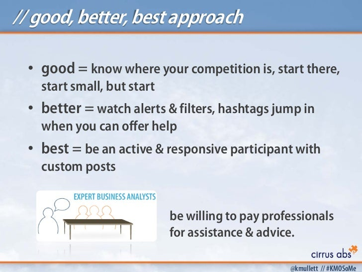 // good, better, best approach • good = know where your competition is, start there,   start small, but start • better = w...