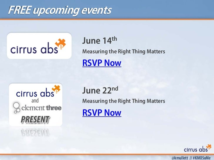 FREE upcoming events              June 14th              Measuring the Right Thing Matters              RSVP Now          ...