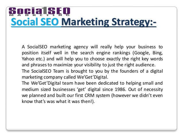 Social SEO Marketing Strategy:- A SocialSEO marketing agency will really help your business to position itself well in the...