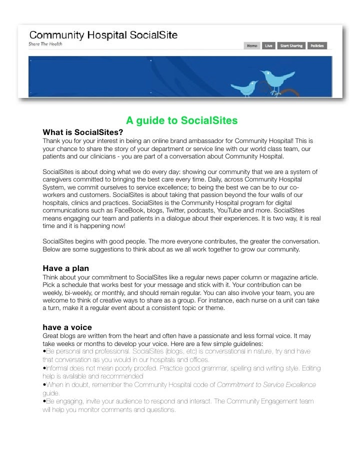 A guide to SocialSites What is SocialSites? Thank you for your interest in being an online brand ambassador for Community ...