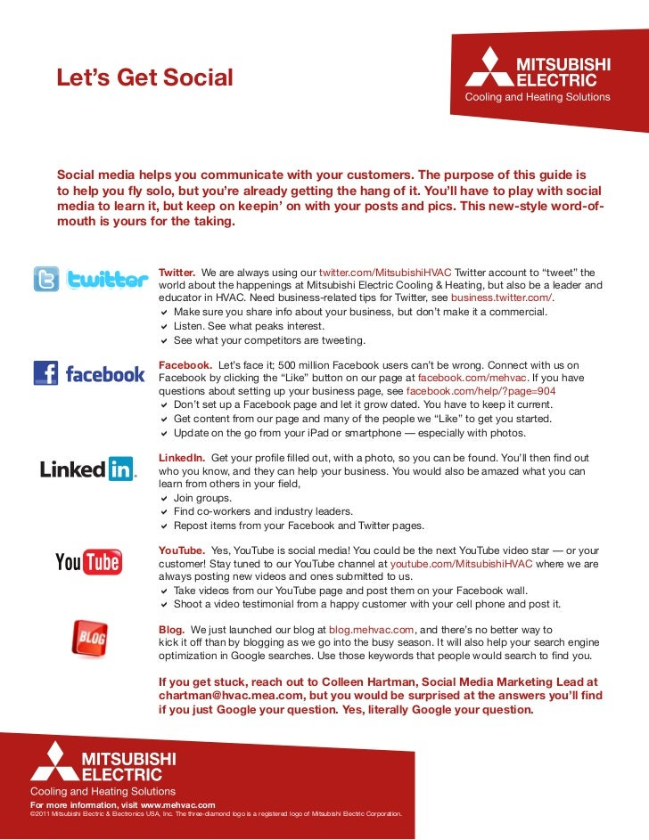 Let's Get Social         Social media helps you communicate with your customers. The purpose of this guide is         to h...
