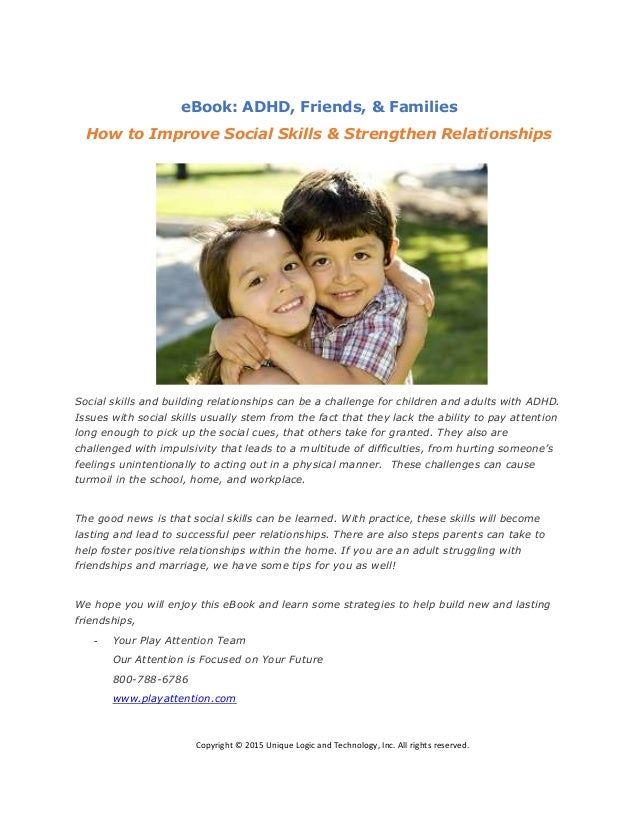 eBook: ADHD, Friends, & Families How to Improve Social Skills & Strengthen  Relationships ...