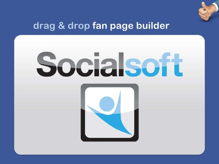 drag & drop  fan page builder