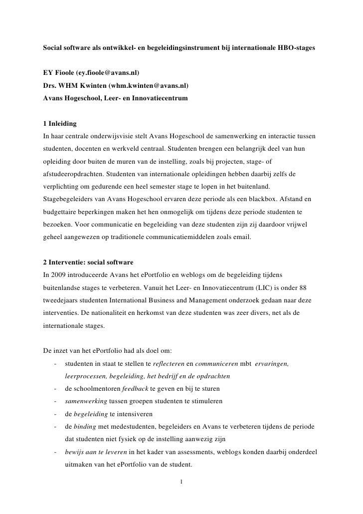 Social software als ontwikkel- en begeleidingsinstrument bij internationale HBO-stages   EY Fioole (ey.fioole@avans.nl) Dr...