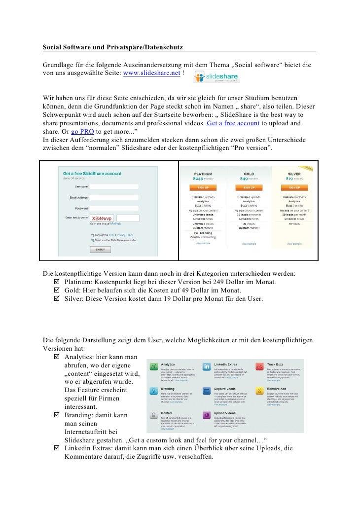 """Social Software und Privatspäre/DatenschutzGrundlage für die folgende Auseinandersetzung mit dem Thema """"Social software"""" b..."""