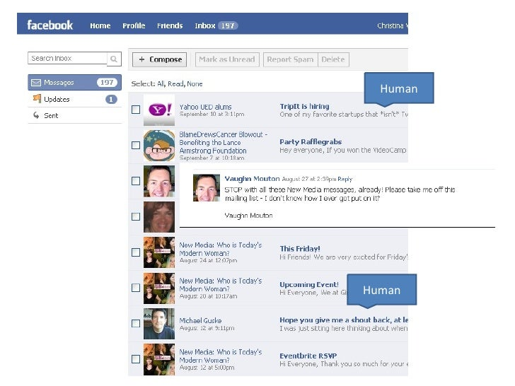 Human Human The Facebook Inbox is chock full of annoying non-human mails, despite the fact they know who  is human and who...