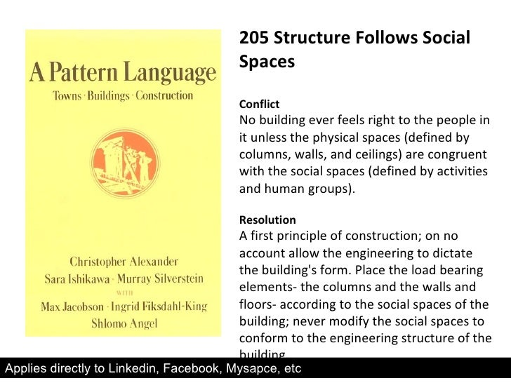 205 Structure Follows Social Spaces Conflict No building ever feels right to the people in it unless the physical spaces (...