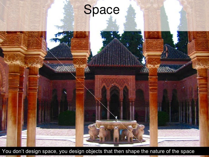 Space You don't design space, you design objects that then shape the nature of the space