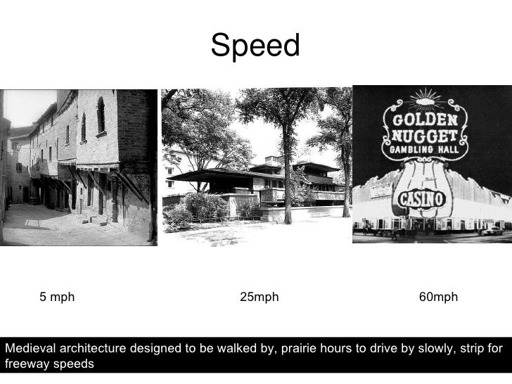 Speed 25mph 5 mph 60mph Medieval architecture designed to be walked by, prairie houses to drive by slowly at suburban spee...