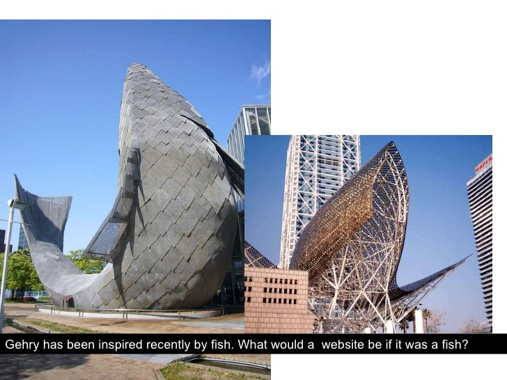 Gehry has been inspired recently by fish. What would a  website be if it was a fish?